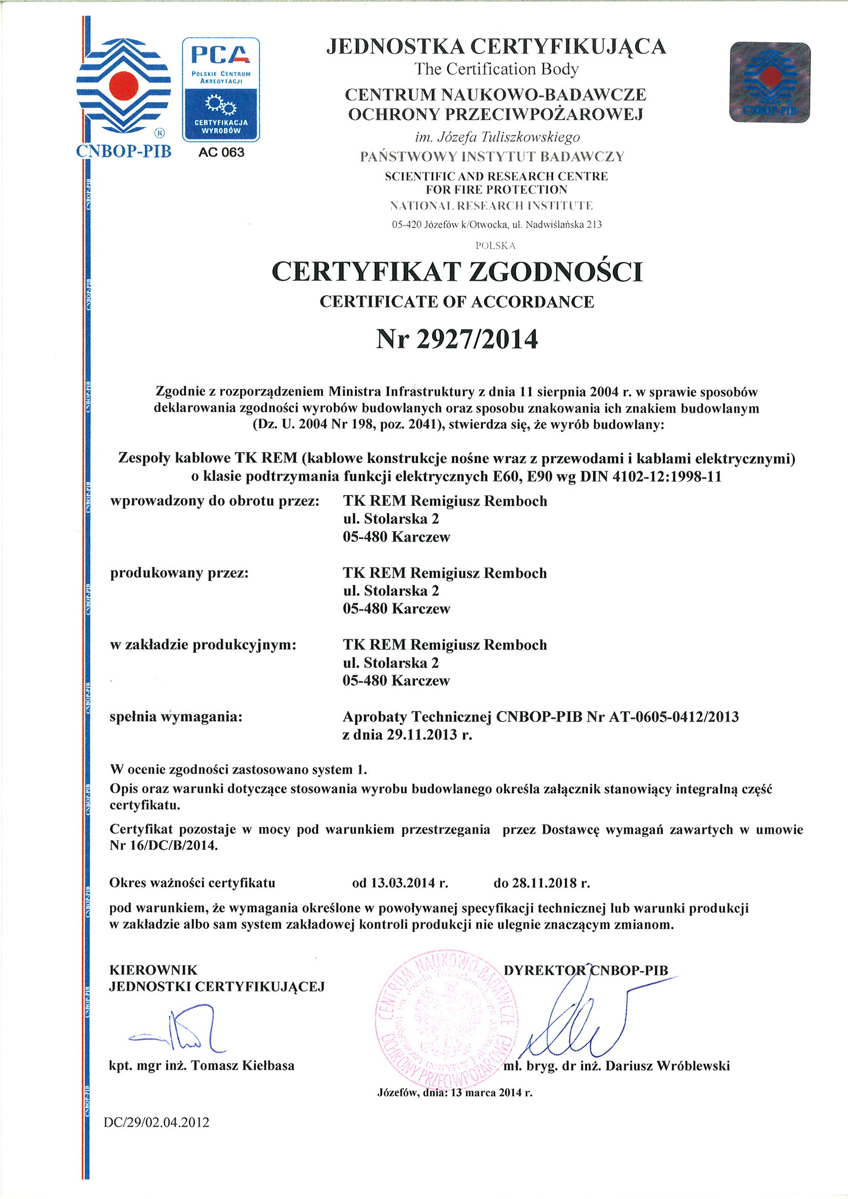 Certyfikat zgodności